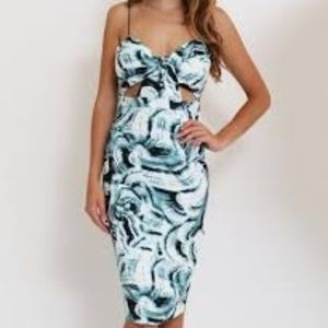 L'ATISTE Swirl Cutout Sleeveless Bodycon Dress